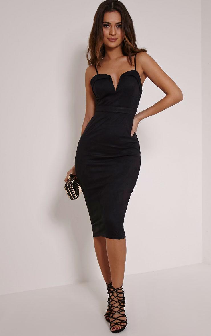 Elie Black Suede Midi Dress 1