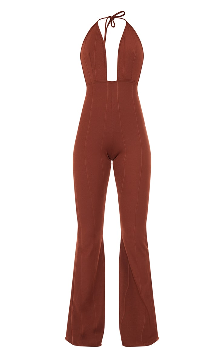 Chocolate Bandage Plunge Flared Leg Jumpsuit 5
