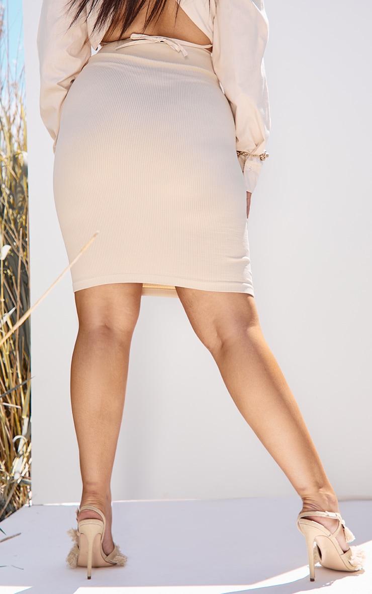 Plus Taupe Contour Rib Structured Midi Skirt 3