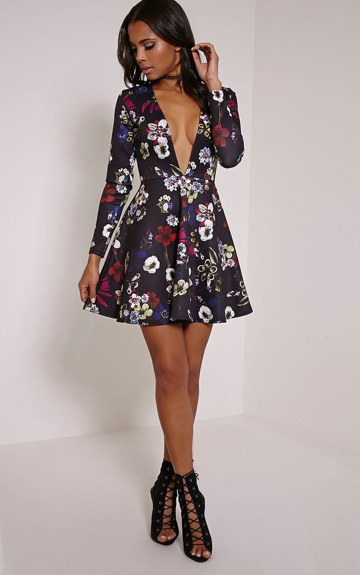 Kella Black Floral Print Plunge Skater Dress 4