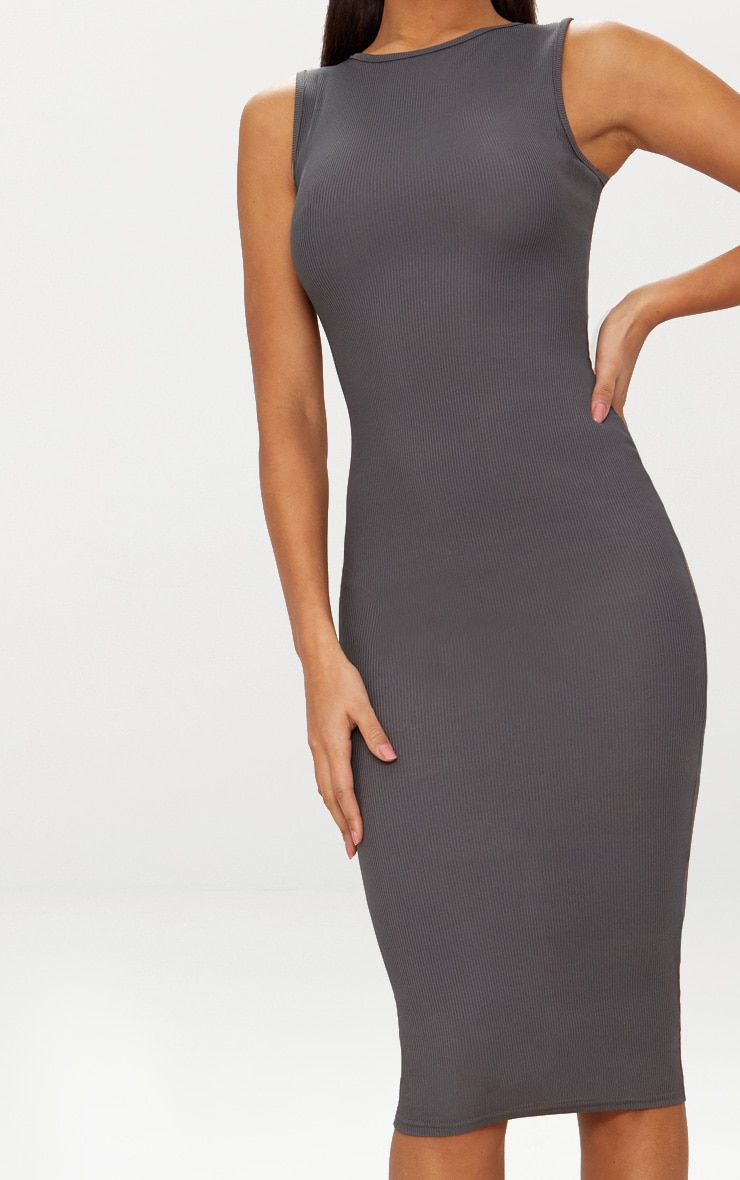 Basic Charcoal Grey Ribbed Neck Midi Dress 5