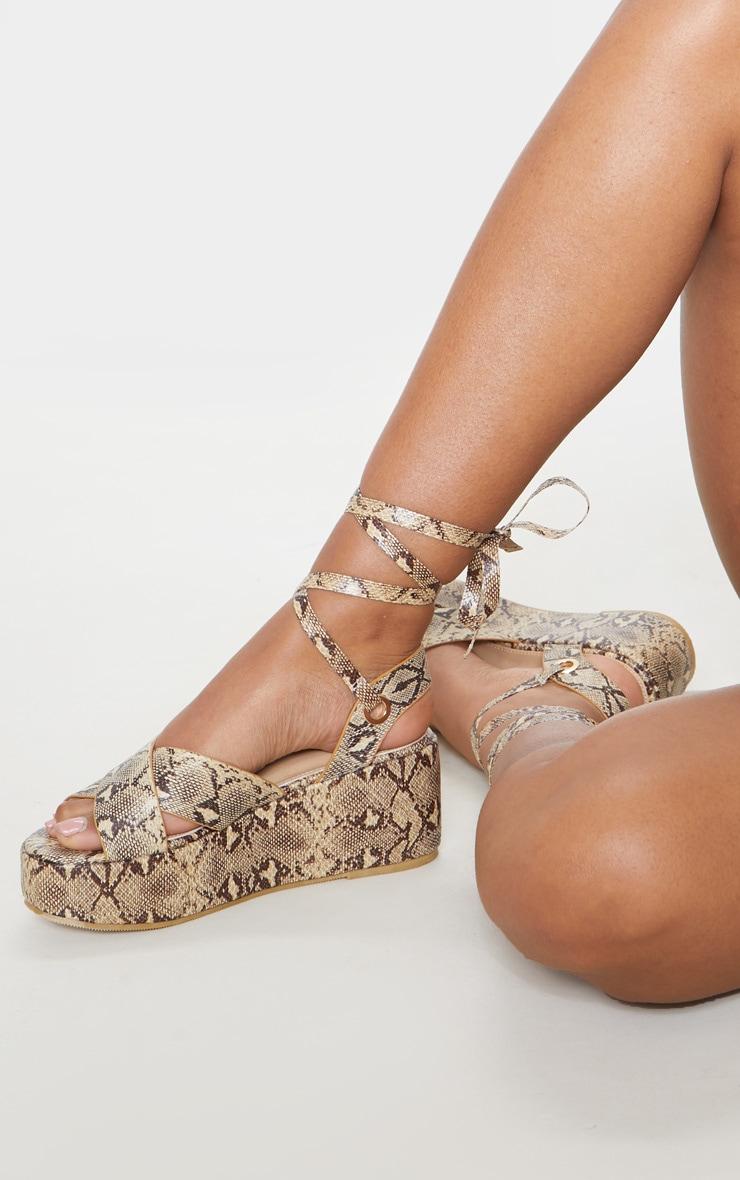 Snake Flatform Lace Up Sandal 1
