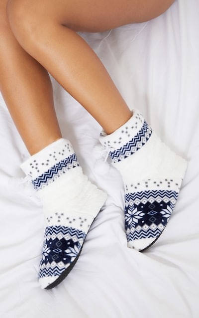 Navy Christmas Fairisle Print Boot Slippers