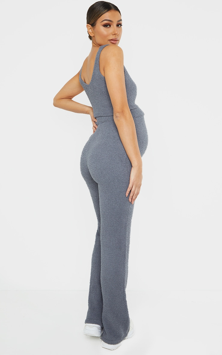 Maternity Slate Grey Chenille Bralet And Wide Leg Trouser Lounge Set 2