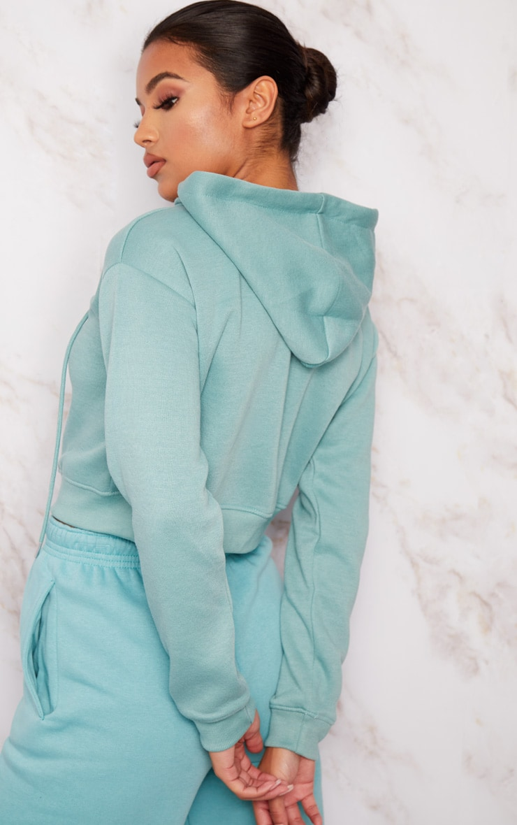 Dusty Turquoise Crop Zip Hoodie 2