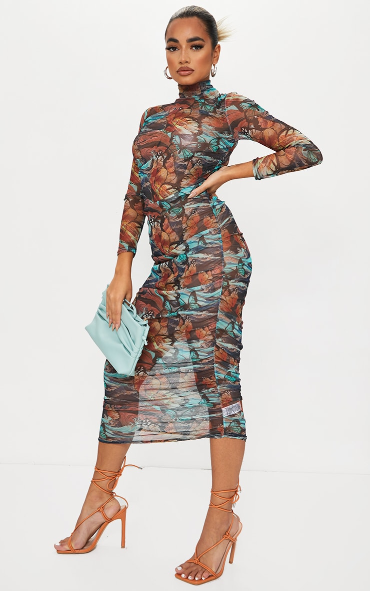 Petite Multi Butterfly Ruched Meshed Midi Dress 3