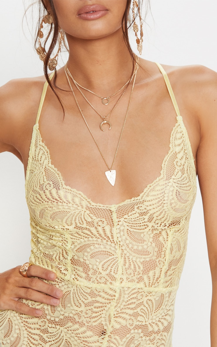 Lemon Sheer Lace Cross Back Bodysuit 6