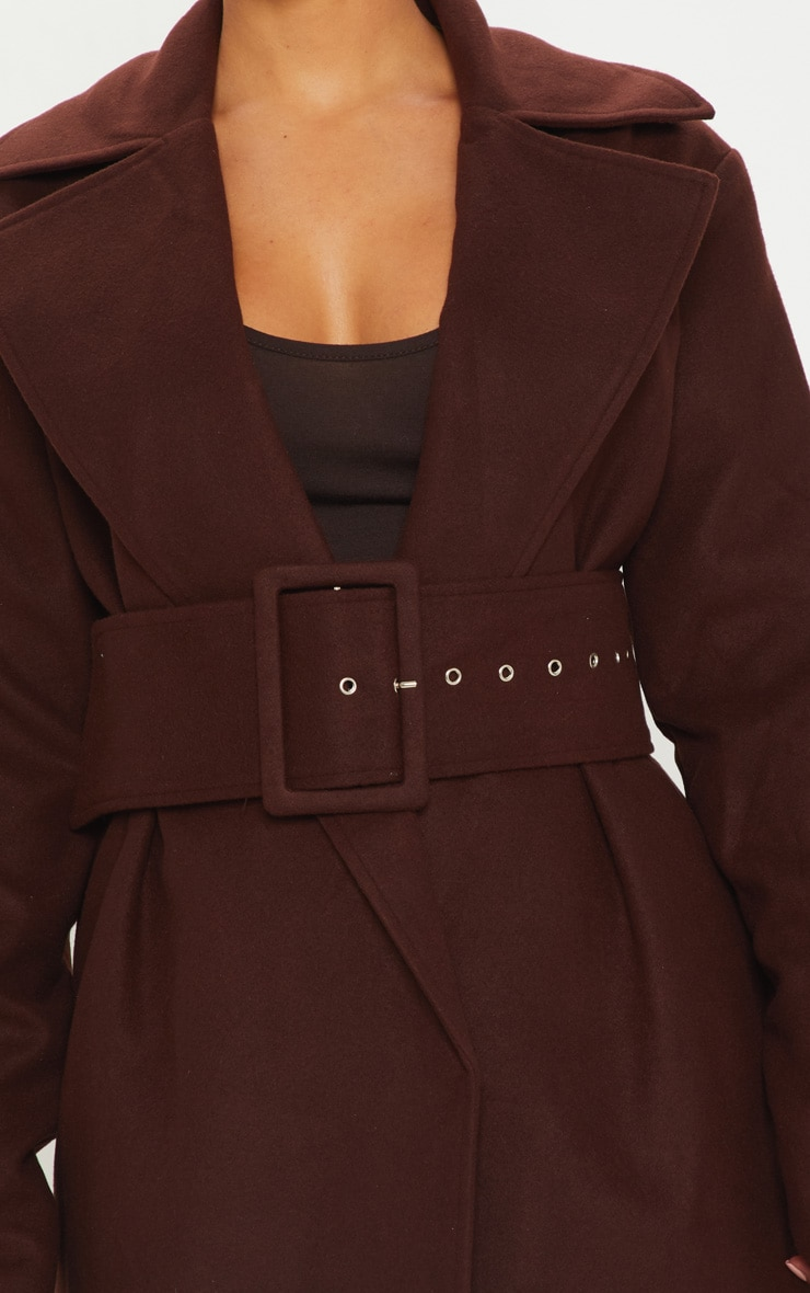 Petite Chocolate Brown Belted Coat 5