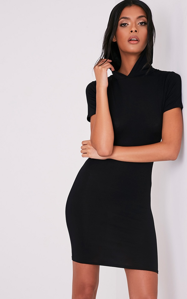 Ruby Black Jersey Hooded Short Sleeve Bodycon Dress 1