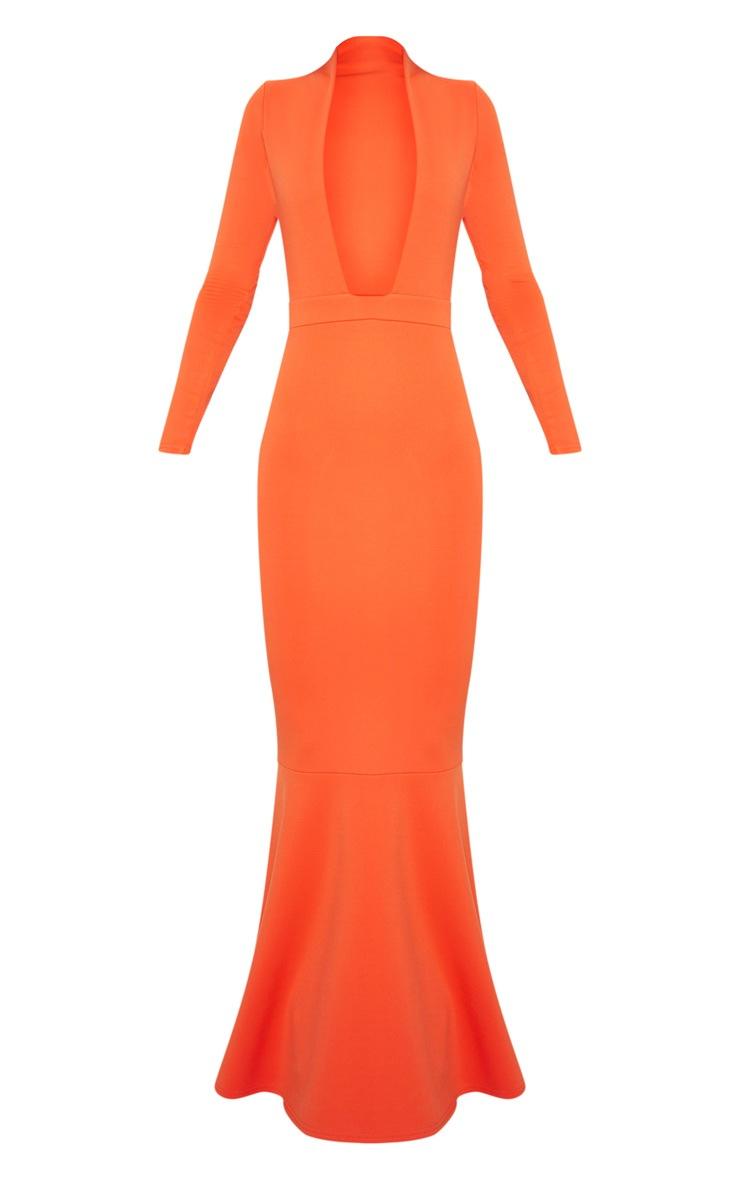 Bright Orange High Collar Detail Plunge Fishtail Maxi Dress 3