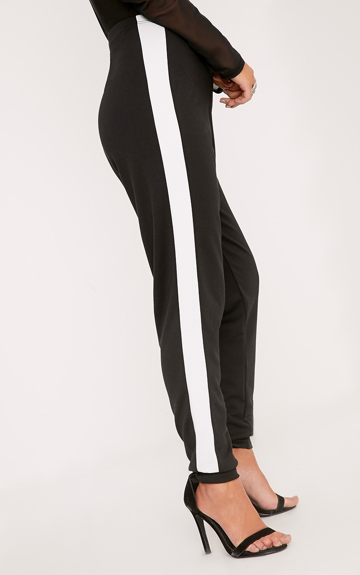 Petite Leonara  Black Side Stripe Joggers 5