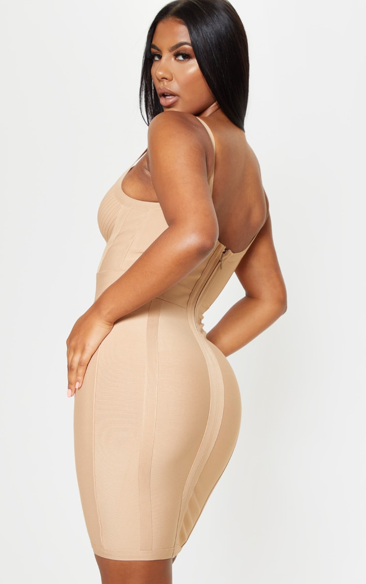 Champagne Nude Bandage Panelled Bodycon Dress 2