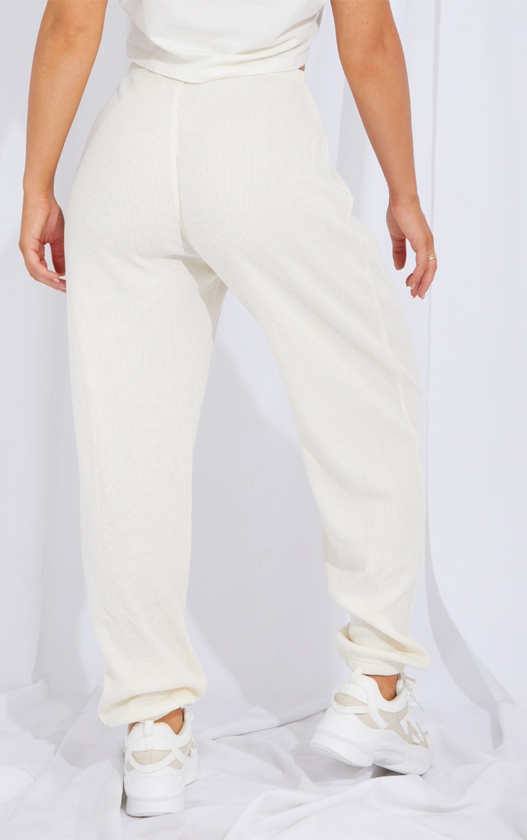 Cream Waffle Textured Casual Joggers 3