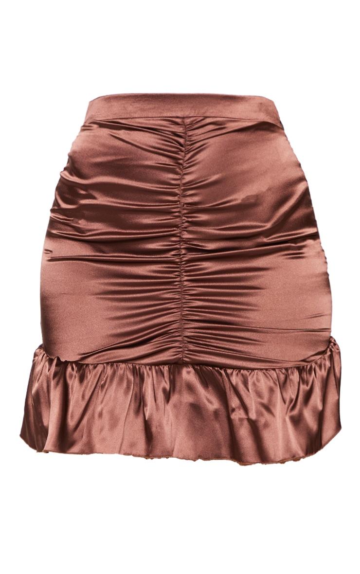 Chocolate Satin Ruched Frill Hem Mini Skirt 6