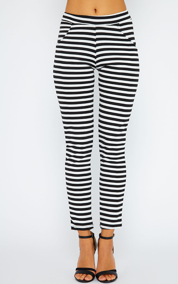 Malika Monochrome Stripe Trousers 2