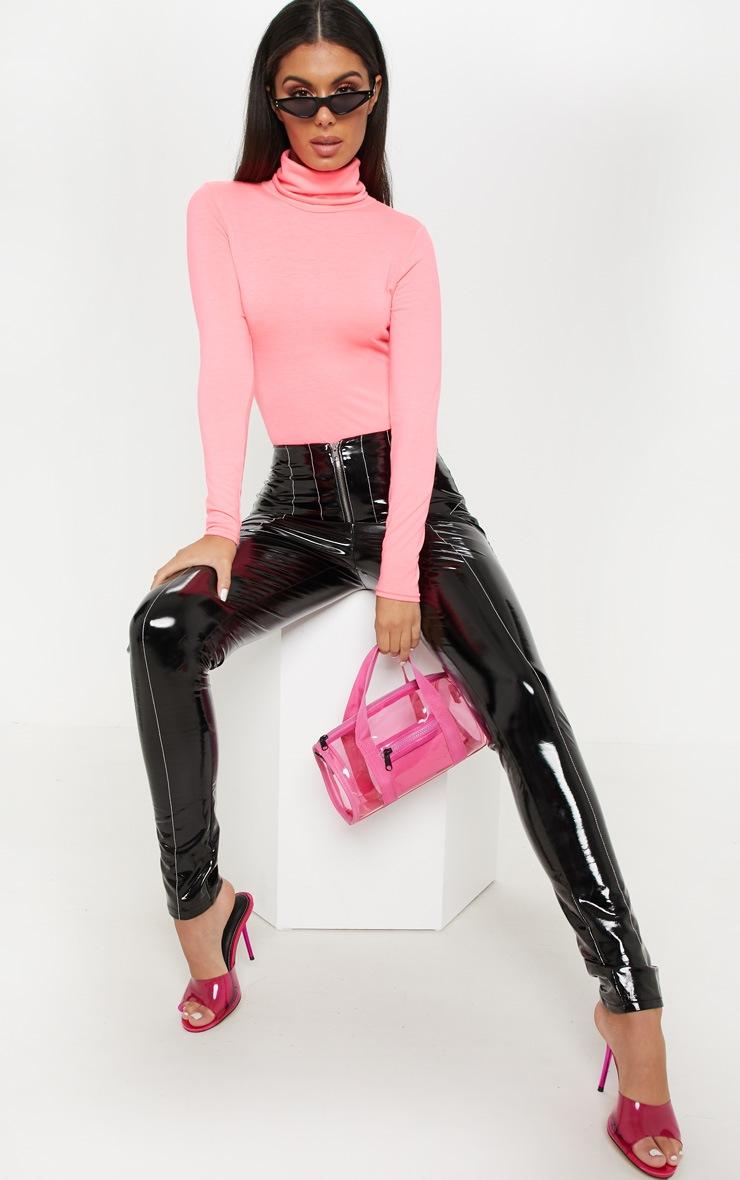 Neon Pink Roll Neck Long Sleeve Bodysuit 5