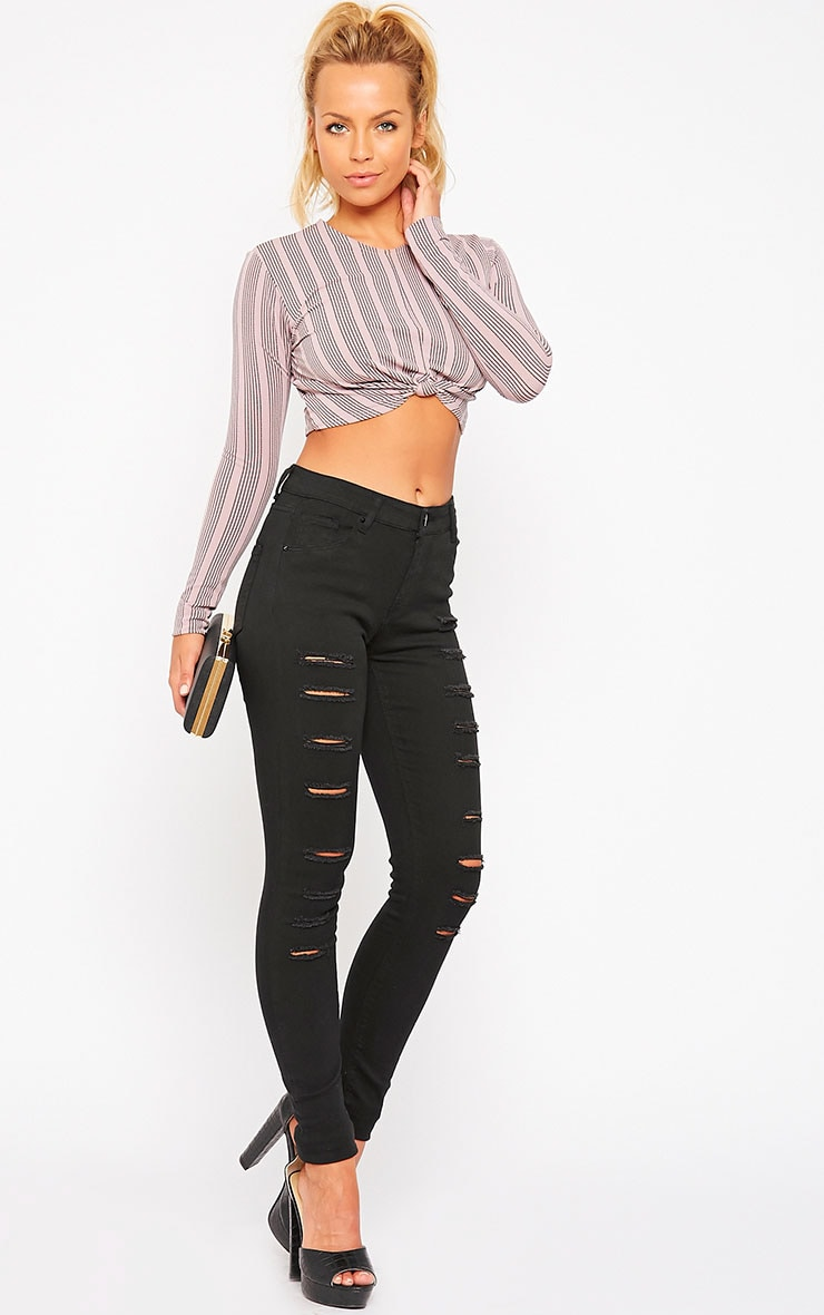 Caisley Black High Waisted Multi Rip Jeans 1