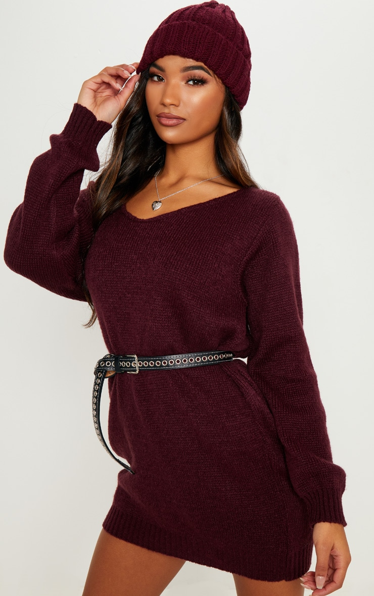 Burgundy Soft Knitted Off the Shoulder Mini Dress 4