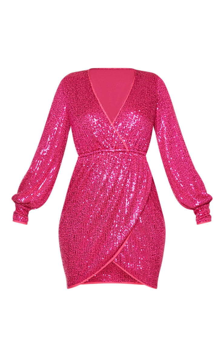 Pink Sequin Long Sleeve Plunge Wrap Detail Bodycon Dress 3
