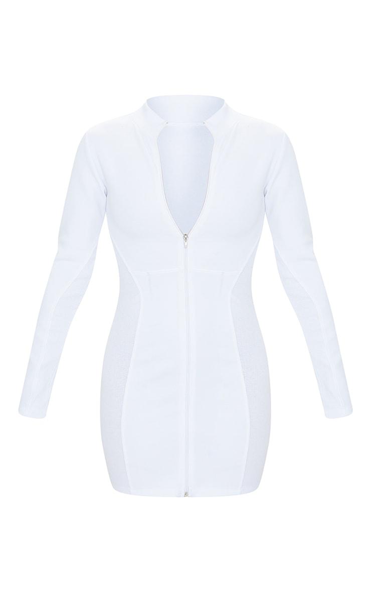 White Scuba Rib Contrast Zip Through Bodycon Dress 5