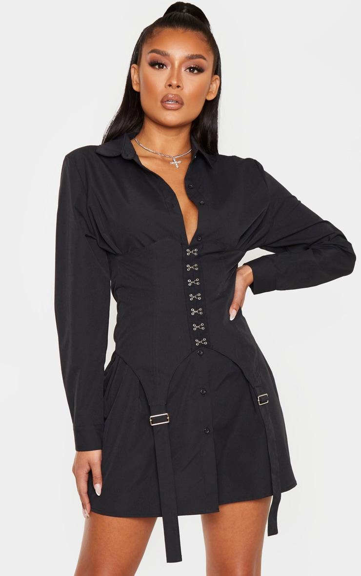 Black Hook & Eye Suspender Corset Detail Shirt Dress 1