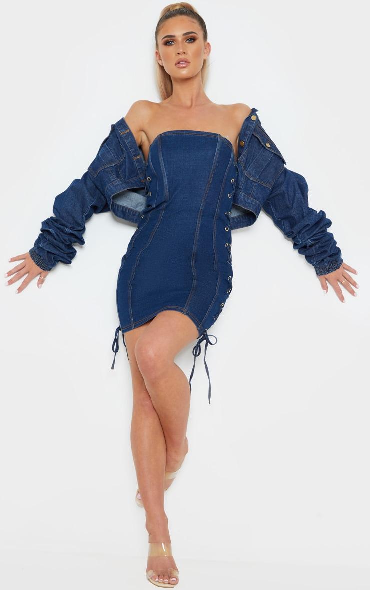 Mid Wash Denim Bandeau Lace Up Detail Bodycon Dress 5