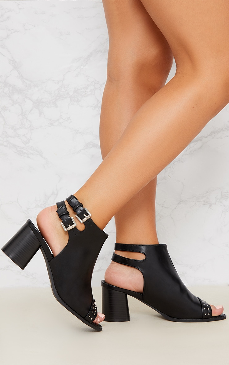 Black Buckle Cut Out Studded Ankle Boot 1