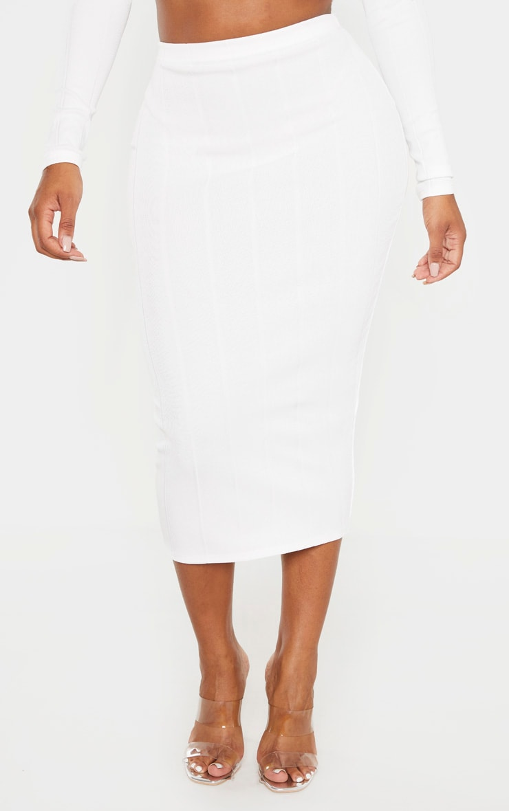 Shape Cream Bandage High Waisted Midi Skirt 2