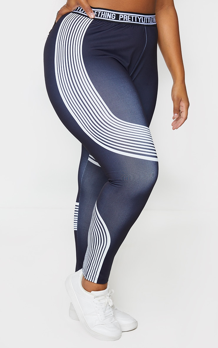 PRETTYLITTLETHING Plus Black Contour Stripe Leggings 2