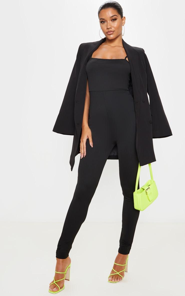 Black Strappy Scuba Jumpsuit 1