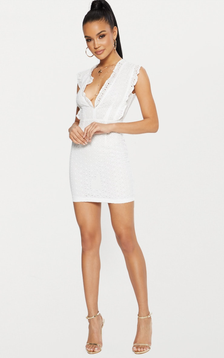 White Broderie Anglaise Ruffle Detail Plunge Bodycon Dress 4