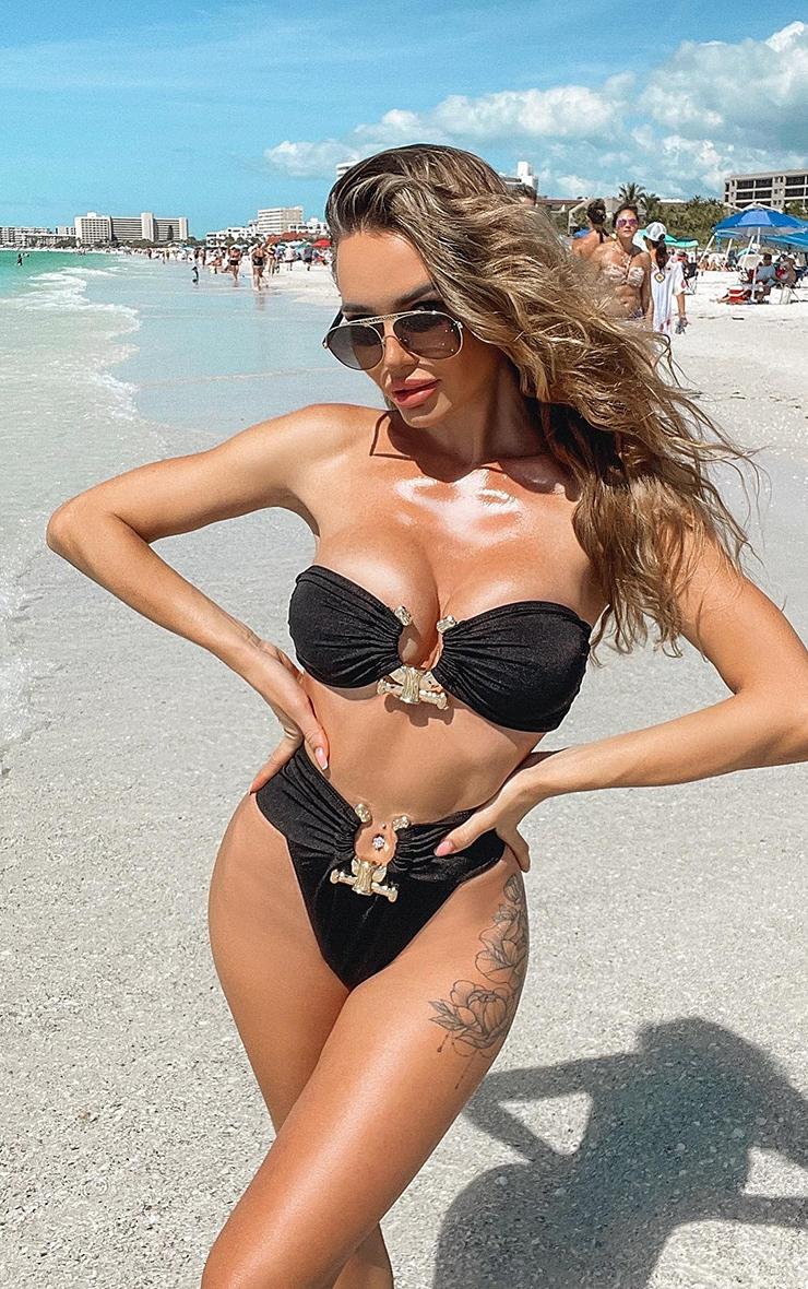 Black Hammered Trim Bikini Top 1