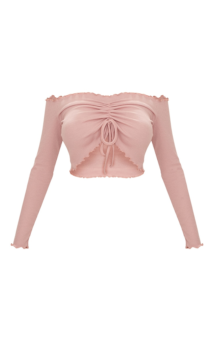 Dusty Pink Frill Edge Tie Front Rib Crop Top  3