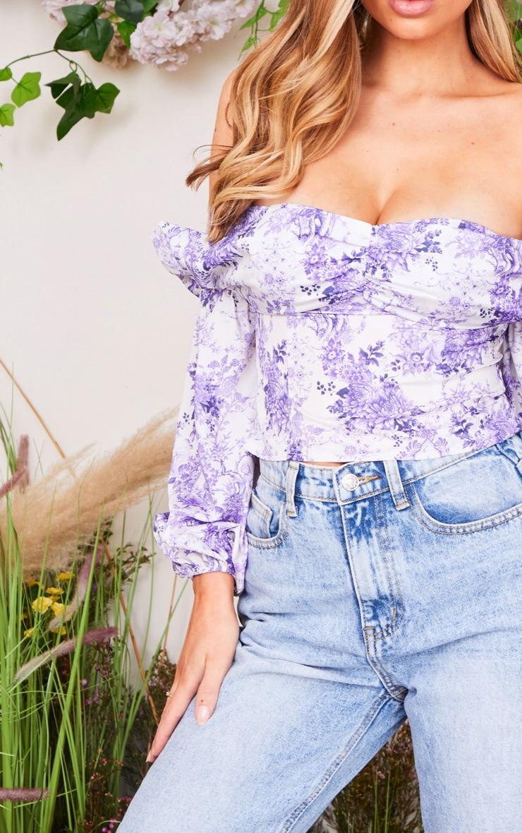 Lilac Porcelain Print Satin Bardot Puff Sleeve Crop Top 4