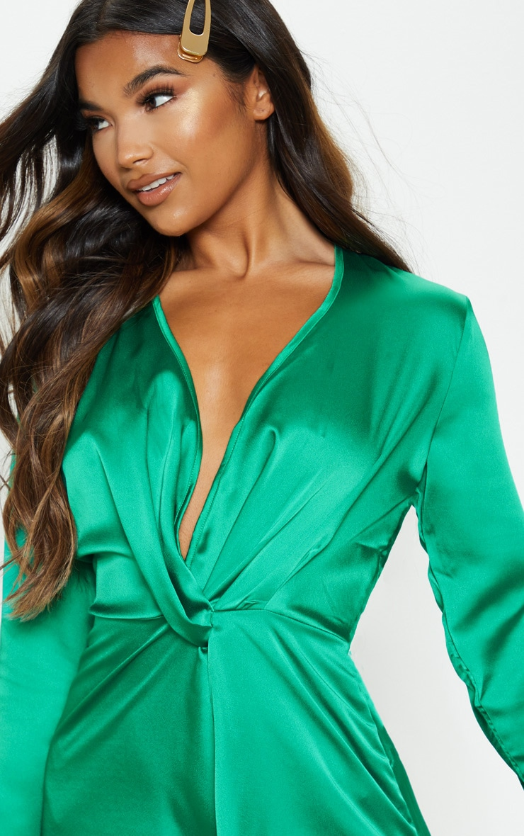 Green Satin Long Sleeve Wrap Dress  5
