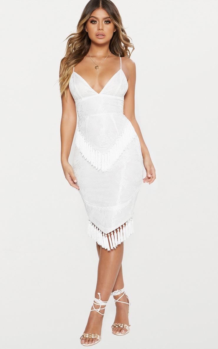 White Lace Tassel Trim Plunge Midi Dress 1