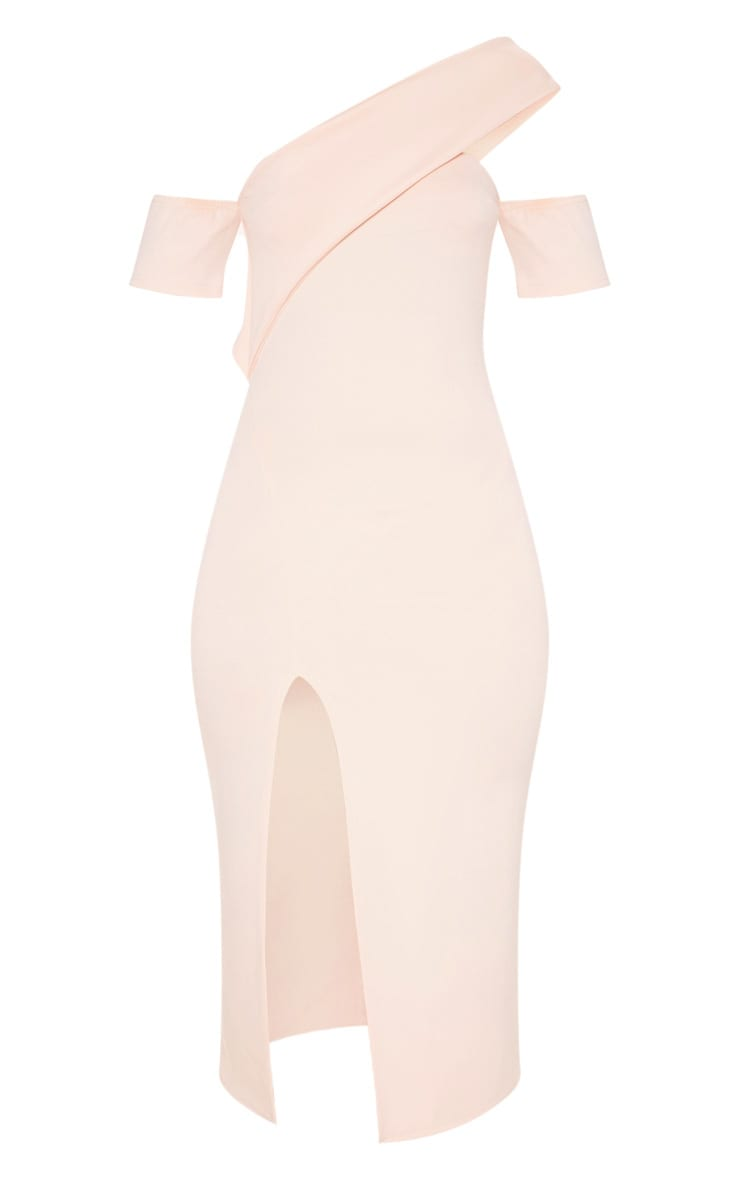 Nude Bardot Drape Detail Split Midi Dress 3