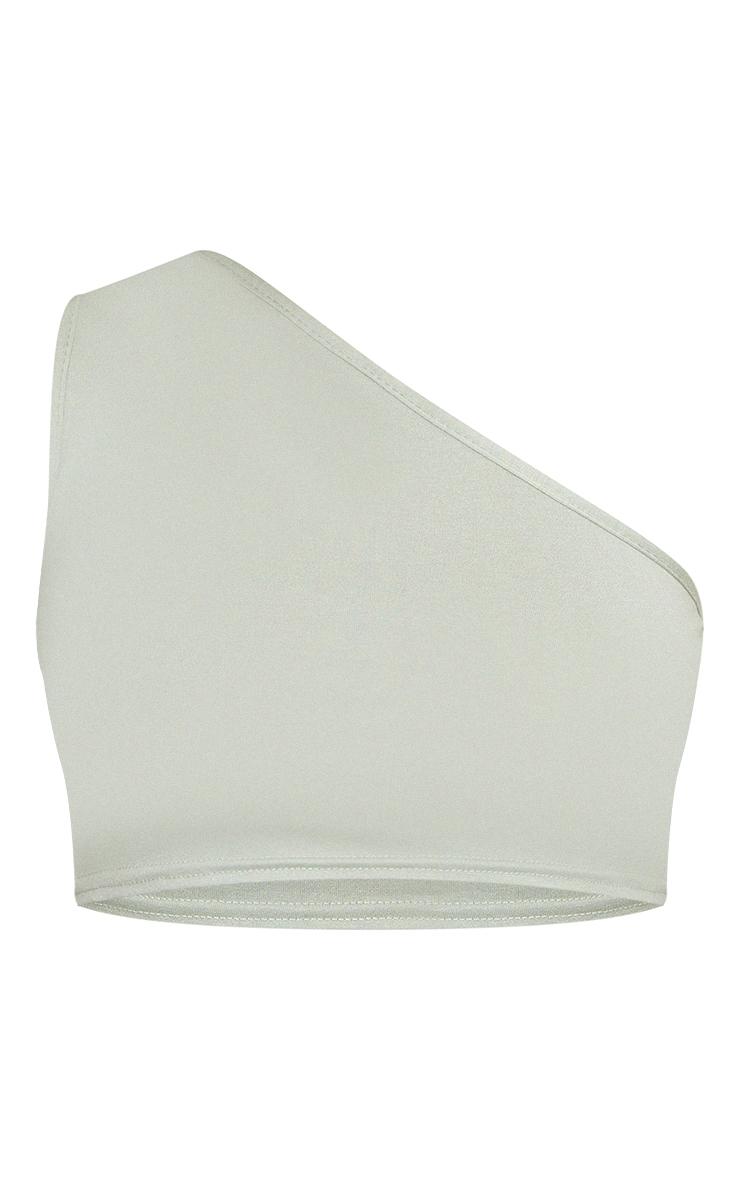 Sage Green Basic One Shoulder Jersey Crop Top 5