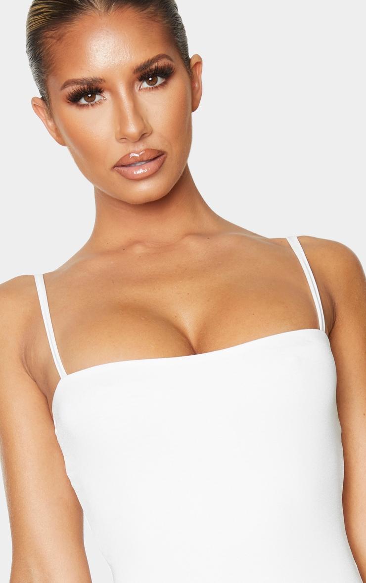 White Straight Neck Swimsuit 4