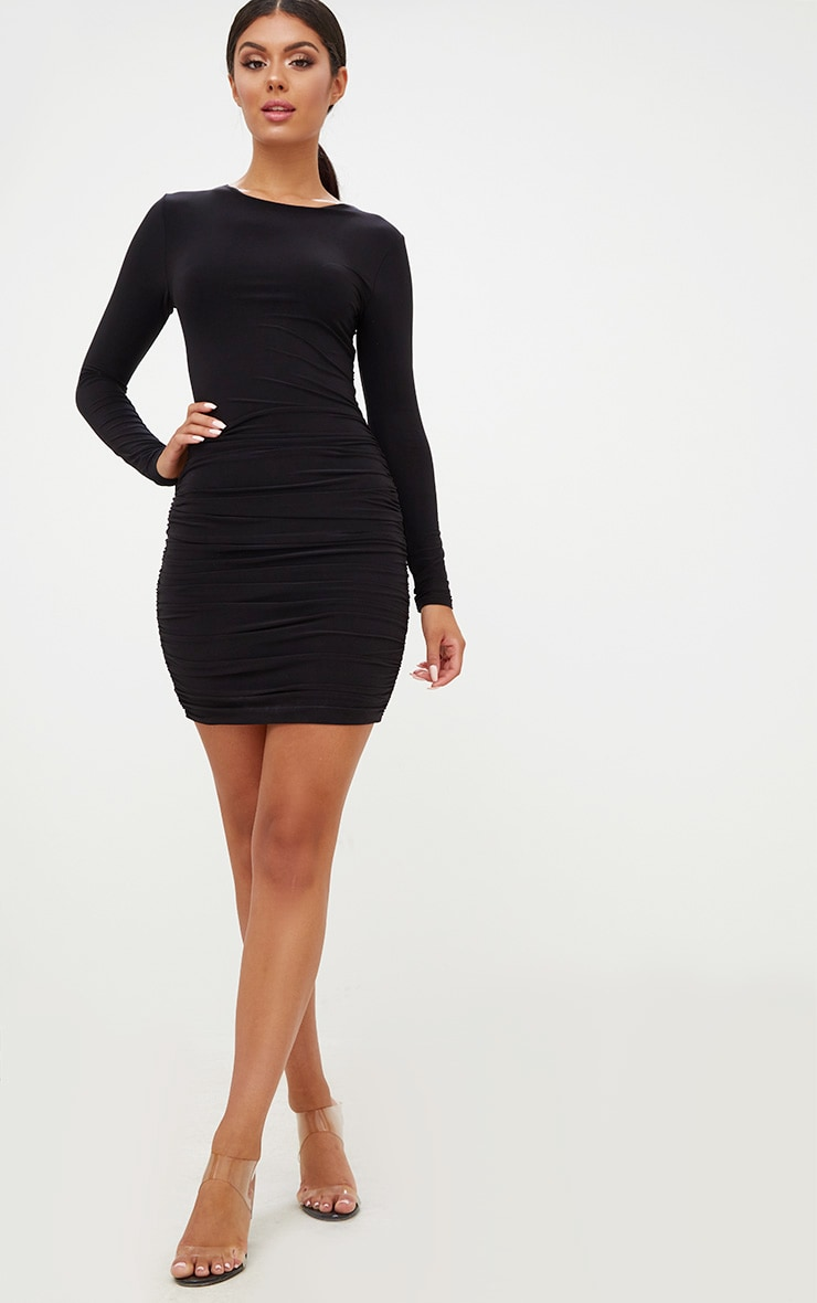 Online shopping black bodycon dress ruched long sleeve