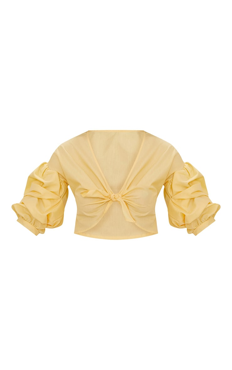 Yellow Woven Knot Front Puff Sleeve Crop Top  3