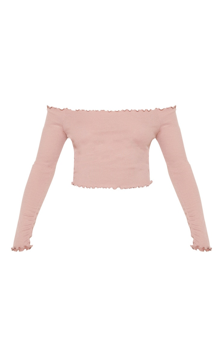 Josie Dusty Pink Frill Edge Crop Top  3