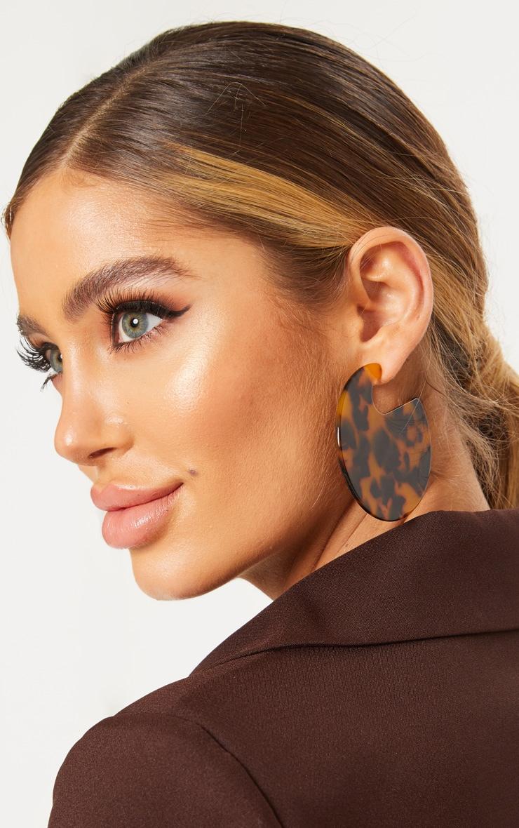 Brown Tortoiseshell Oval Disc Earrings