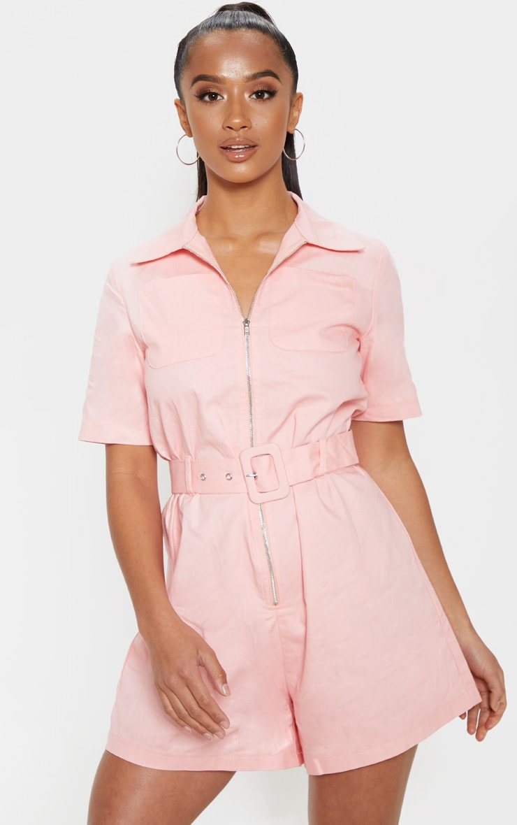 Petite Pink Belted Utility Romper 1
