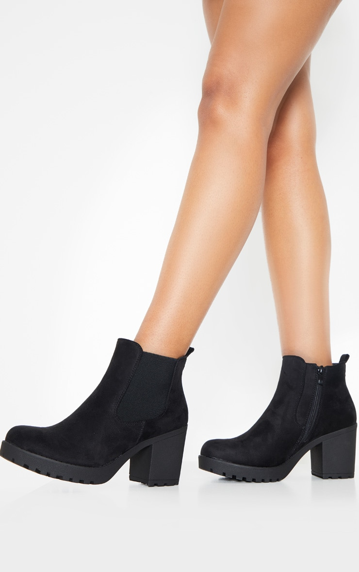 Black Faux Suede Cleated Chelsea Ankle Boots 2