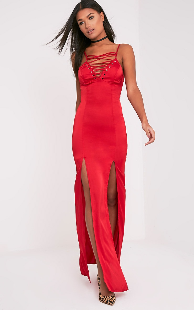 Kiria Red Lace Up Satin Maxi Dress 1