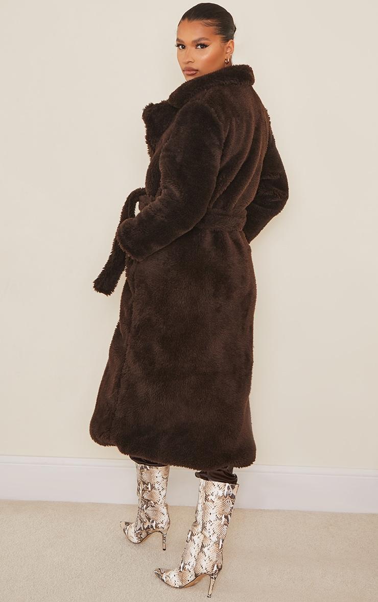 Brown Long Teddy Faux Fur Belted Coat 2