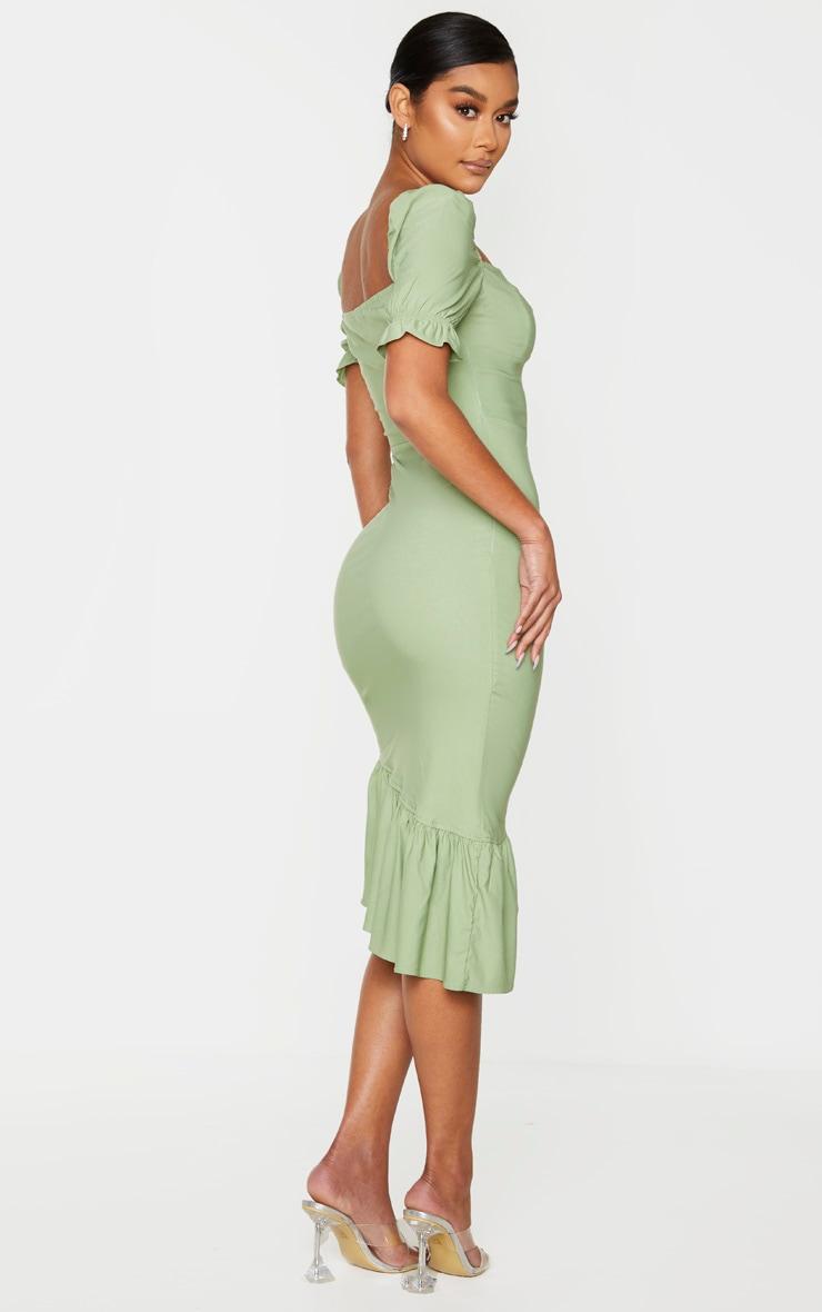 Sage Green Puff Sleeve Frill Hem Midi Dress 2