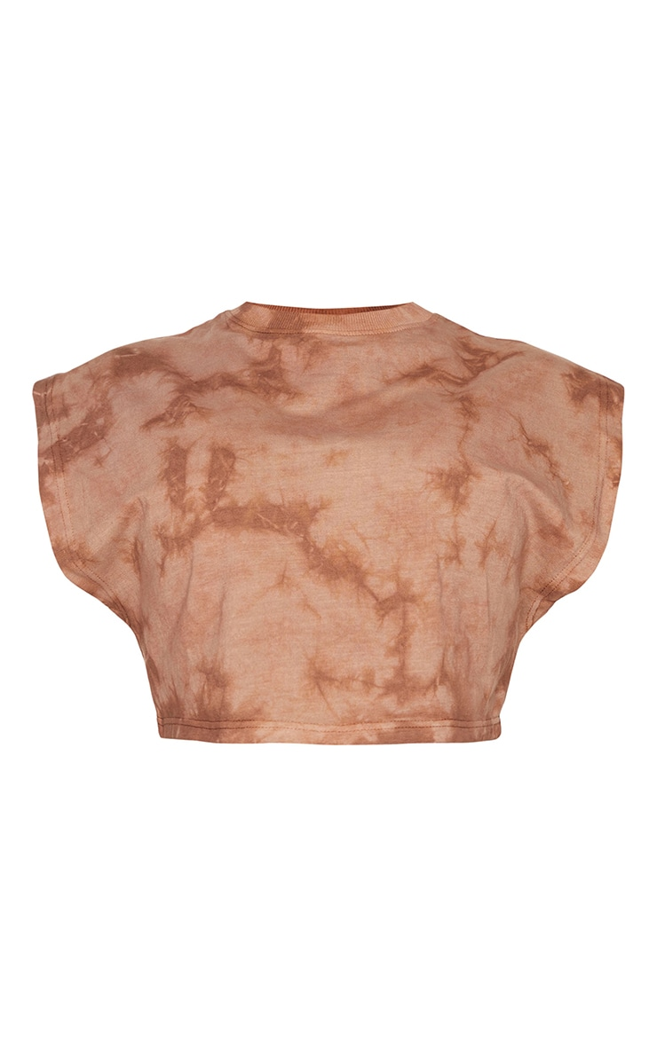 Shape Brown Acid Wash Cotton Sleeveless Crop Top 5