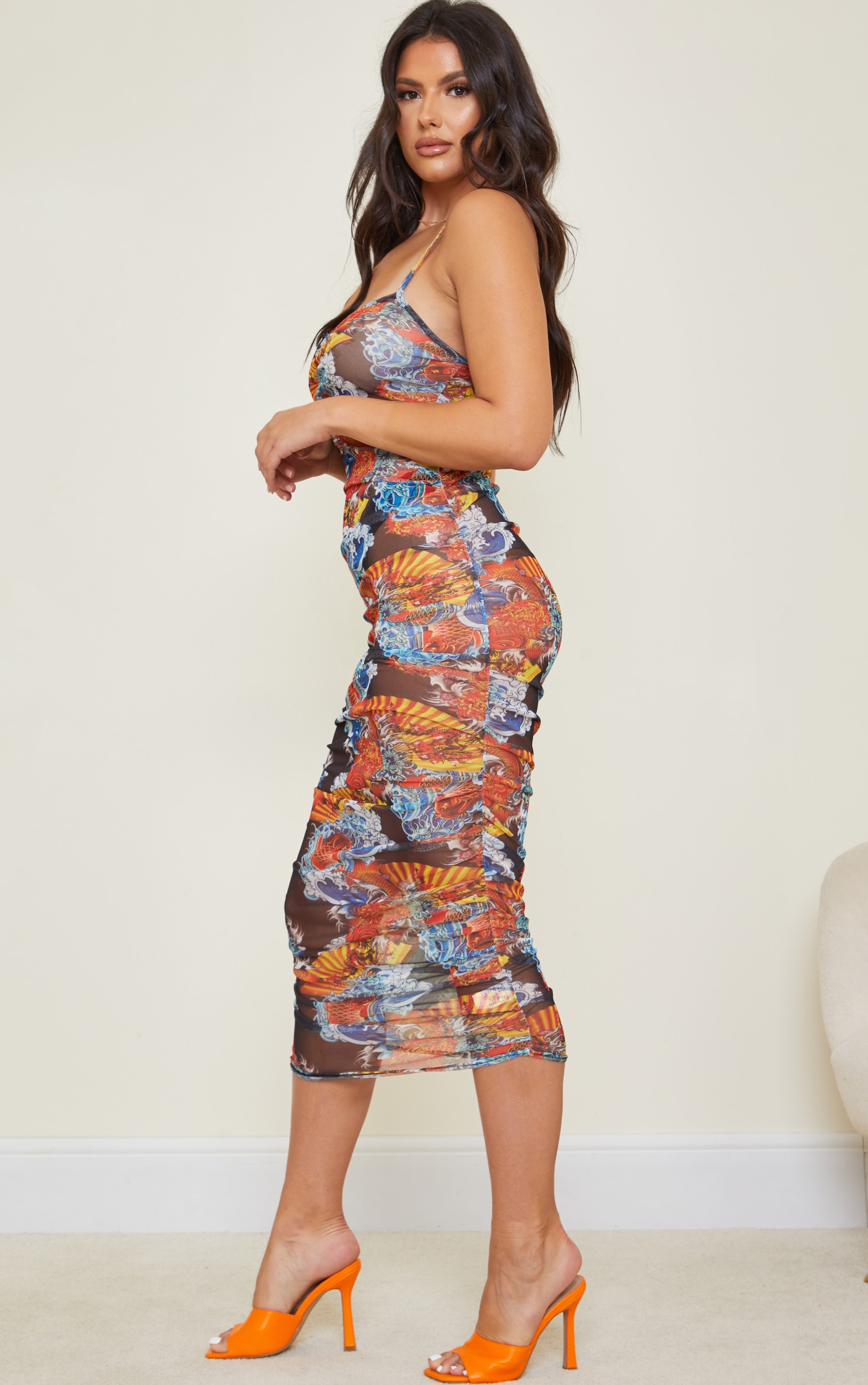 Tall Black Multi Print Strappy Ruched Dress 3